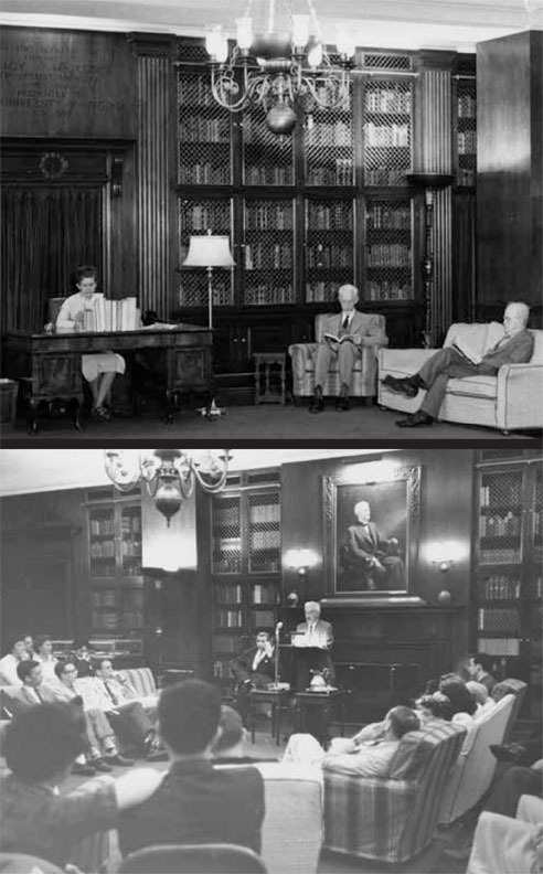 The McGregor Room as it looked after its dedication in 1939; William Faulkner speaks in the McGregor Room, ca. 1957-58.