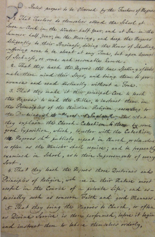 "Associates of Dr. Bray, ""Rules proper to be Observed by the Teachers of Negroes."""