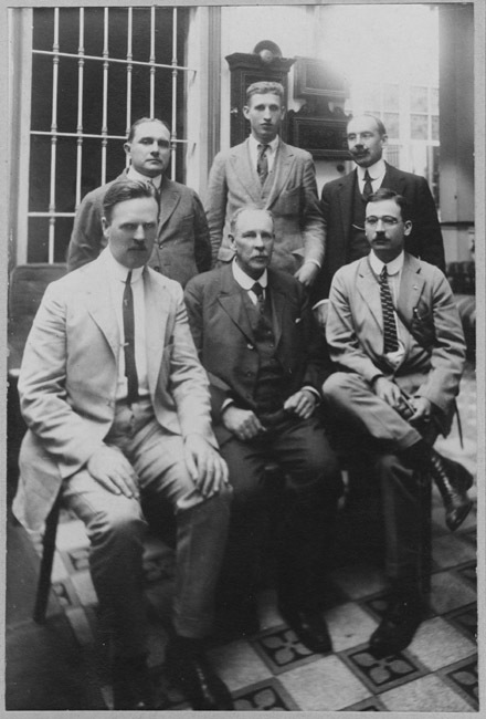 Photograph of Mulford Biological Exploration team members. White is on the far left in the light suit.