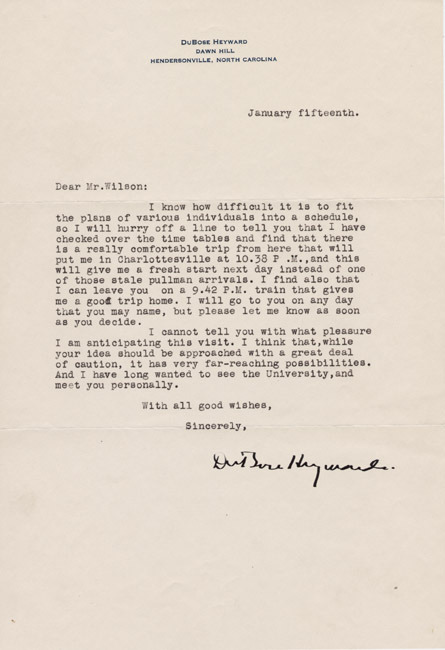 Letters from William Faulkner, Willa Cather, Ellen Glasgow, DuBose Heyward, Allen Tate, and Thomas Wolfe to James Southall Wilson. 1931