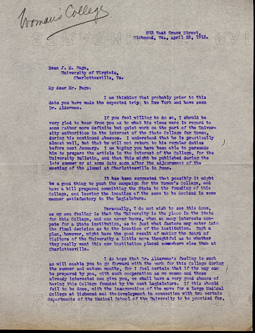 Typed carbon copy letter, signed. Mary Cooke Branch Munford to Dean of the College James M. Page. 1913 April 25.