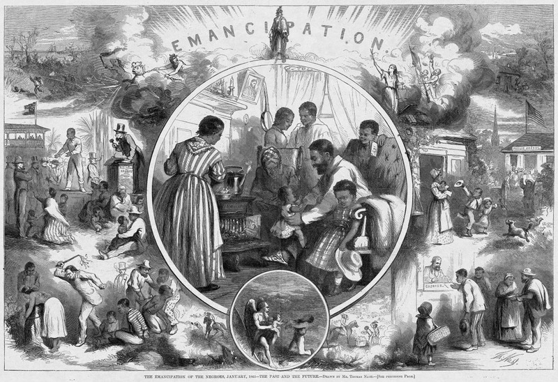 """Thomas Nast, """"The Emancipation of the Negroes,"""" from Harper's Weekly. 24 January 1863."""