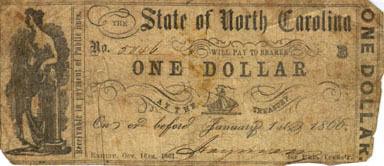 One-dollar North Carolina treasury note