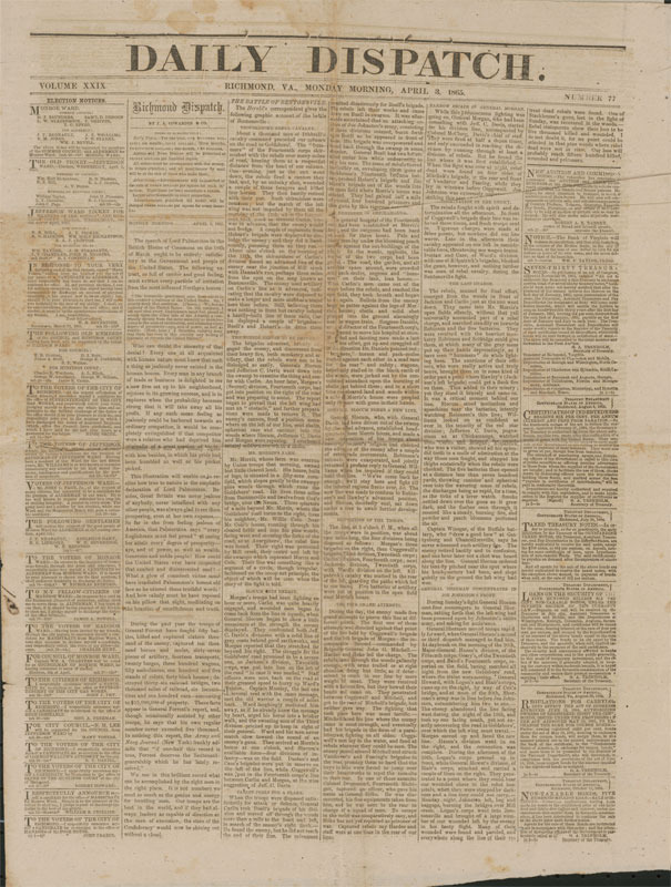 Daily dispatch. Richmond, Va., 3 April 1865.