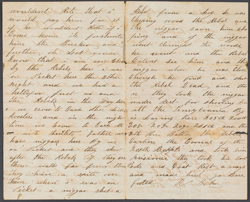 Richard F. Bohn, Letter to his father, 24 November 1864.
