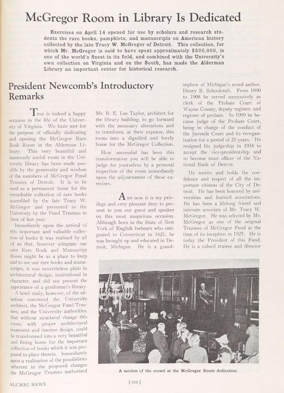 From University of Virginia Alumni News, May 1939