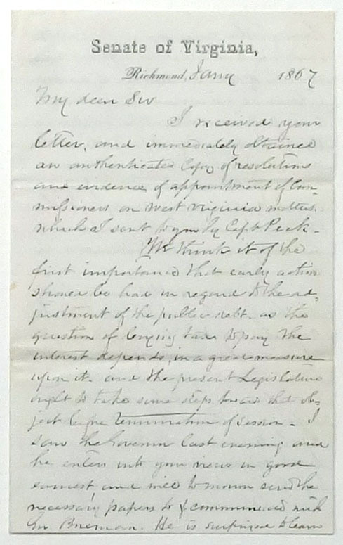 Nicholas K. Trout, Letter to Alexander H. H. Stuart, 20 January 1867.