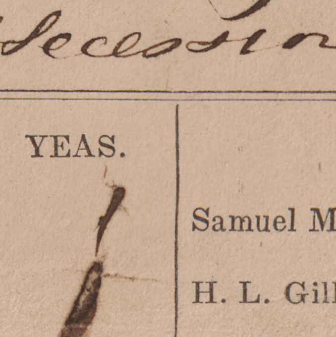 Detail, Record of the vote in the Virginia Convention on the Ordinance of Secession, 17 April 1861.