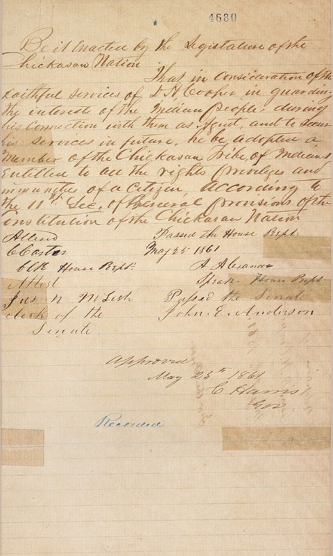 """Photocopy of autograph document, """"Enactment by the Legislature for the Chickasaw Nation"""" adopting Cooper as a member of the Chickasaw tribe. 1861 May 25. From the collections at the Oklahoma Historical Society, Oklahoma City, Oklahoma."""
