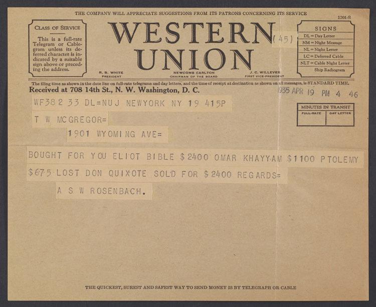 A. S. W. Rosenbach, Telegram, 19 April 1935.