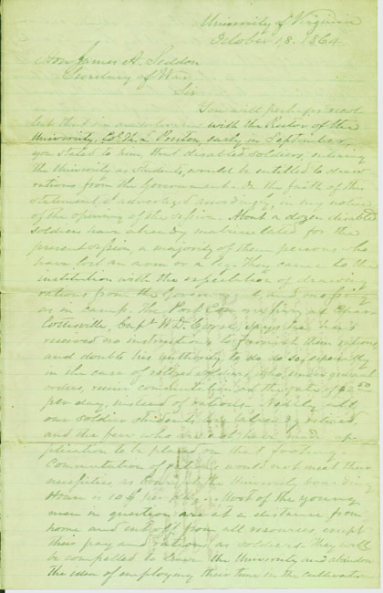 Autograph letter, signed. Socrates Maupin to Confederate Secretary of War James A. Seddon. 1864 October 18.
