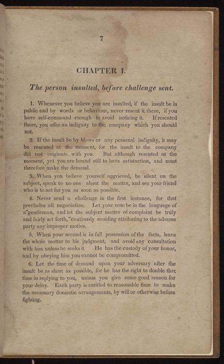 John Lyde Wilson, The code of honor, 1838.