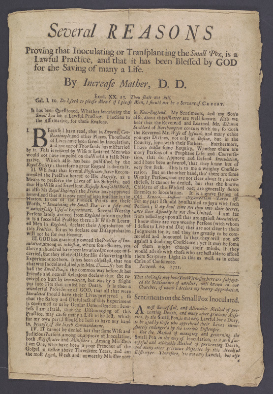 Increase Mather, Several Reasons Proving that Inoculating or Transplanting the Small Pox, is a Lawful Practice, 1721.