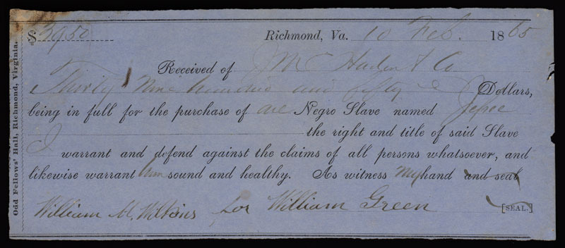 Bill of sale for the slave Jefree, Richmond, Va., 10 February 1865.