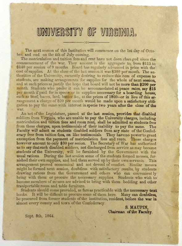 University of Virginia: the next session of this Institution ... [Charlottesville?, 1864]