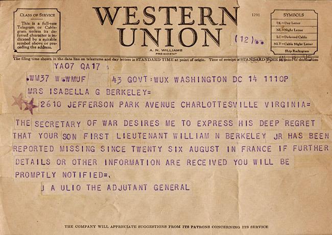Telegram from Adjutant-General J.A. Ulio to Mrs. Isabella Berkeley. 1944 September 15.