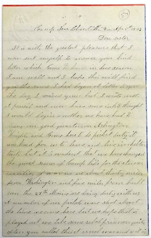 "Nathaniel Gammon, Jr., Letter to his sister, ""Camp near Chantilli,"" 5 April 1863."