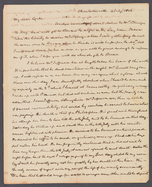Joseph Carrington Cabell, Letter to John Hartwell Cocke, 4 July 1826.