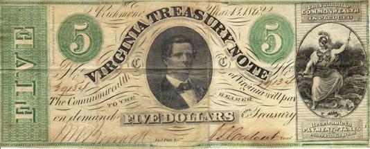 Five-dollar Virginia treasury note