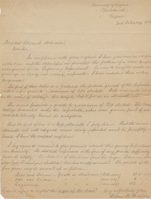 Autograph letter, signed. William M. Thornton to President E.A. Alderman. 1905 February 2.
