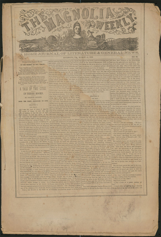 Charles Dickens, A tale of two cities, in The Magnolia Weekly, Richmond, Va., 12 March 1864.