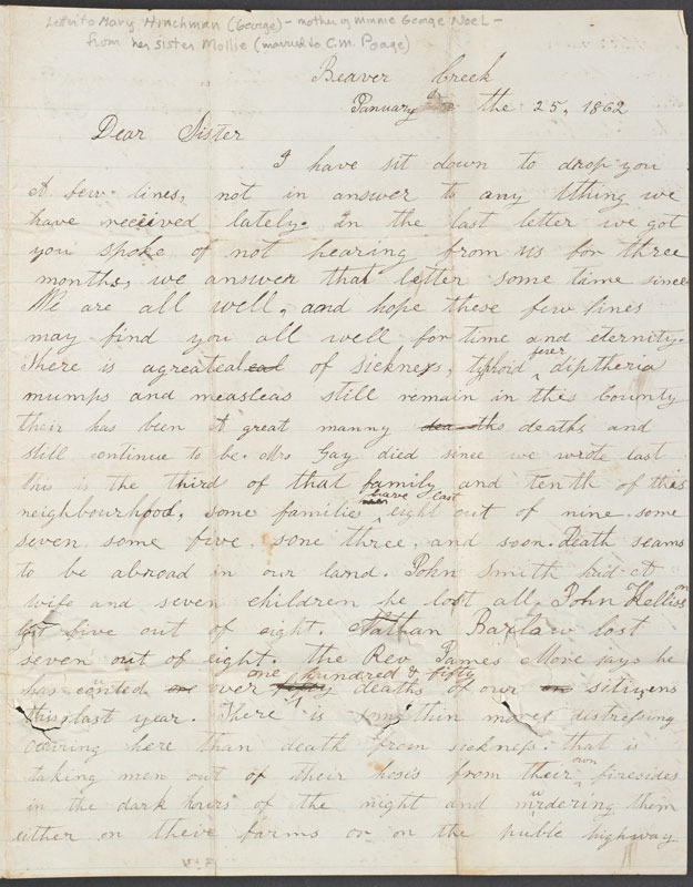 Mollie Poage, Letter to her sister Mary Hinchman George, 25 January 1862.
