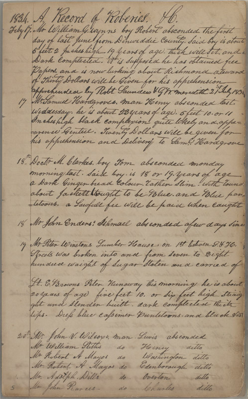 Richmond (Va.) Police Guard, Daybook, 1834-1843.