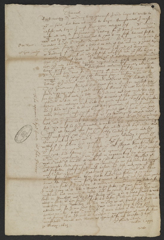 Letter from William Capps, Virginia, to John Farrer, England, 31 March - 1 April 1623&lt;br /&gt;<br /> Tracy W. McGregor Library of American History Special Collections (MSS 9202)