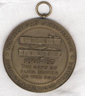 University of Virginia medal awarded to Confederate alumnus Nathaniel Hite Willis, June 1912.