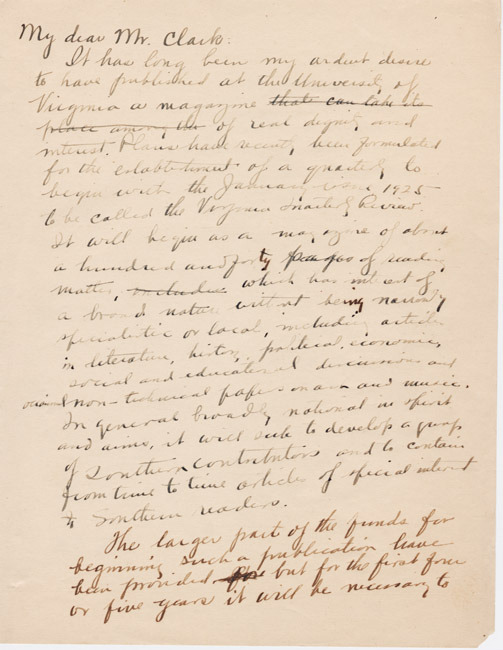 Autograph letter draft. James Southall Wilson to Mr. Clark. ca. 1924. Wilson discusses the founding of the Virginia Quarterly Review.