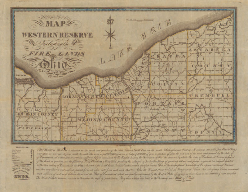 William Sumner, Map of the Western Reserve, including the Fire Lands in Ohio, 1826.