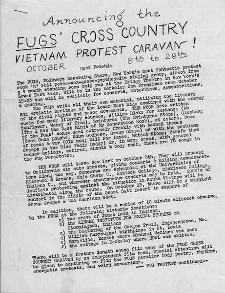 Fugs' Cross-country Vietnam Protest Caravan