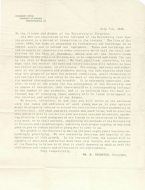 "Typed letter. William M. Thornton to ""the friends and Alumni of the University of Virginia"". 1896 July 7."