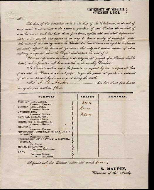 A. B. Archer absenteeism report. 1854 November 1.