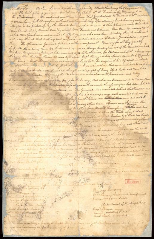 George Washington, Letter to Robert Dinwiddie, 18 July 1755.