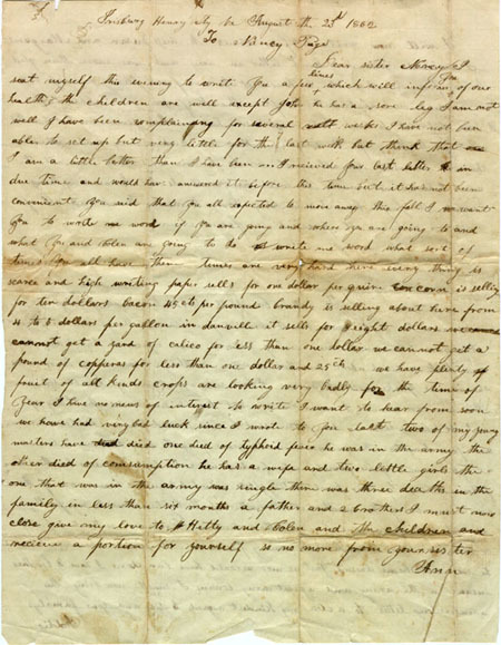 Letter from Henry County, VA resident, 1862