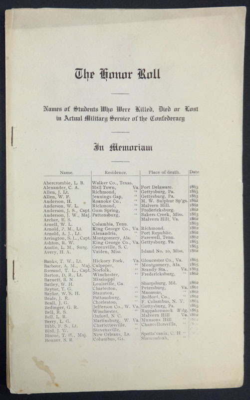 Ladies Confederate Memorial Association of Albemarle County, Va., The honor roll. [Charlottesville, 1906?]