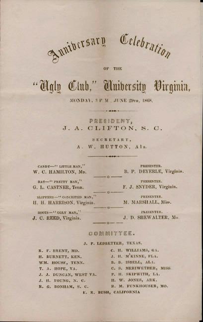 "Broadside. ""Anniversary Celebration of the Ugly Club."" 1868 June 20."