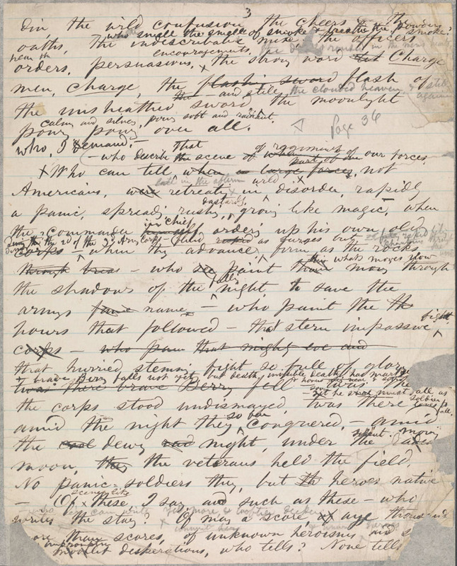"Walt Whitman, Manuscript fragment of ""A Night Battle, Over a Week Since,"" ca. May 1863."