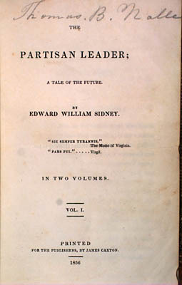 Nathaniel Beverley Tucker. The Partisan Leader; A Tale of the Future