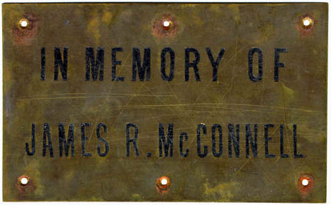 McConnell artifacts. Metal plate