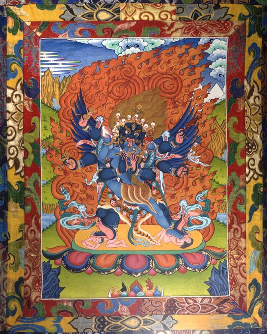 Scroll Painting of the Wrathful Deity Vajrakilaya (rdo rje phur pa)