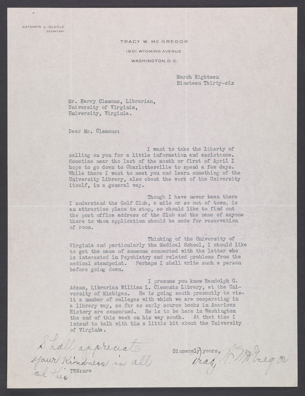 Tracy W. McGregor, Letter to Harry Clemons, 18 March 1936.