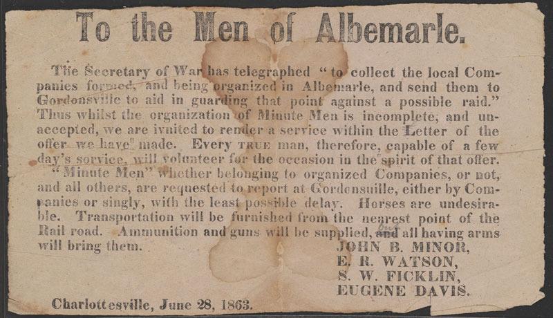 John B. Minor, To the men of Albemarle. Charlottesville, 28 June 1863.
