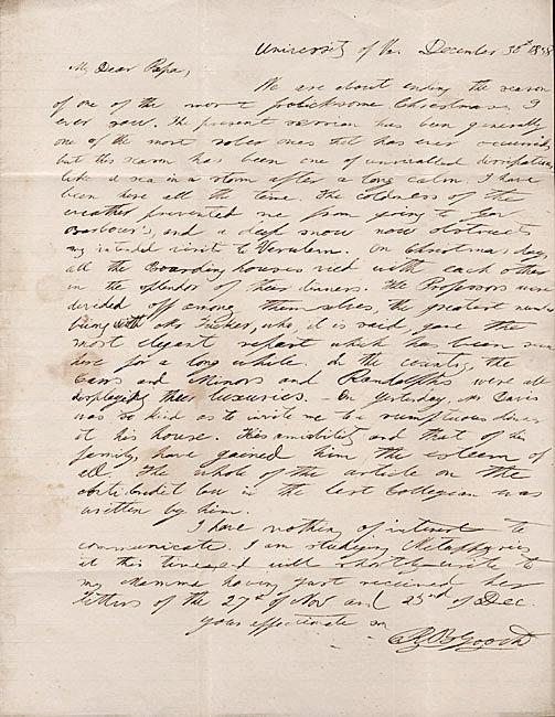 Autograph letter, signed. Richard B. Gooch to Colonel G. W. Gooch. 1838 December 30.