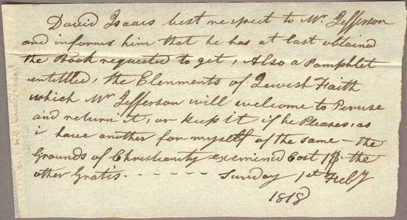 David Isaacs. Letter to Jefferson. Feb. 1, 1818