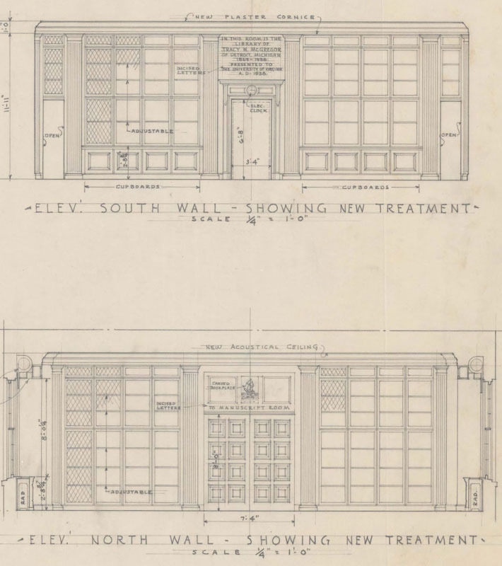 Architectural drawings for the McGregor Room by Taylor and Fisher Architects, 1938. Courtesy Facilities Management, U.Va.