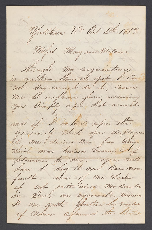 George Arnold, Letter to Mary and Malvina Gibbs, 4 October 1863.