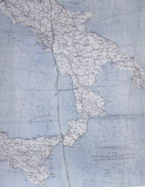 Map of Italy, printed on silk, issued to aviators and others operating behind enemy lines.
