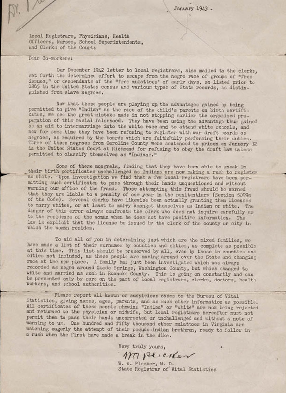 Typed carbon copy letter, signed. W. A. Plecker to Local Registrars, Physicians, Health Officers, Nurses, School Superintendents, and Clerks of the Court. 1943 January. The copy on display was sent to the University of Virginia Hospital.